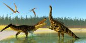 picture of giant lizard  - Two Anhanguera reptiles fly over as a Kaprosuchus marine reptile confronts an Agustinia dinosaur - JPG