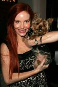 Phoebe Price and dog Henry at the first annual Beverly Hills Mutt Club Fashion and Halloween Show, Beverly Hills Mutt Club, Beverly Hills, CA 10-22-06