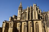Beautiful Medieval Cathedral In Carcassonne. Sunny Day.