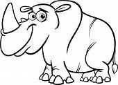 Rhinoceros Cartoon Coloring Page