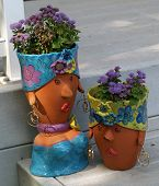 Clay Planter Pot Sculptures Of Women's Faces With Flowers