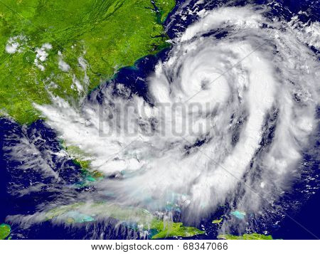 Hurricane Over Florida And Cuba poster
