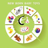 Circle Vector Baby Infographic.new Born Baby  Toys