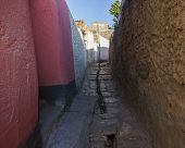 Narrow Alleyway Of Ancient City Of Jugol In The Morning. Harar. Ethiopia.