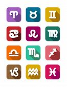 Flat icons with zodiac elements