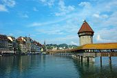 Luzern View With Chapel Bridge