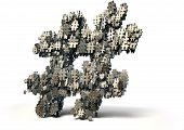 stock photo of hashtag  - A concept image showing a collection of small metallic hashtags of various sizes arranged to make a larger hashtag on an isolated studio background - JPG