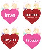Angels holding Valentines isolated set