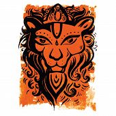 Lion head. Ethnic pattern.