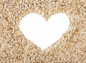 pearl barley frame shape heart close up surface top view background