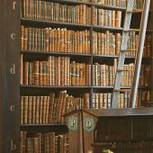 Dublin, Ireland - January 03: Shelves In The Long Room In Trinity College Library..the Long Room Is