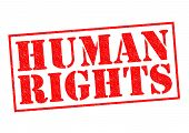 stock photo of bill-of-rights  - HUMAN RIGHTS red Rubber Stamp over a white background - JPG