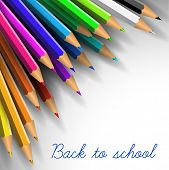 Vector Back to school poster - colorful crayons on white paper