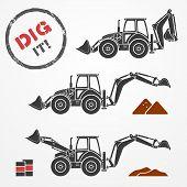 Excavator silhouettes