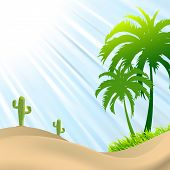 picture of heatwave  - illustration of desert scene with palm treecactus sand dunes - JPG