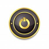 Power Circular Vector Golden Black Web Icon Button