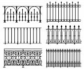 stock photo of wrought iron  - Black and white wrought iron modular railings and fences - JPG
