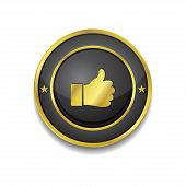 Thumbs Up Circular Vector Golden Black Web Icon Button