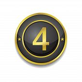 4 Number Circular Vector Golden Black Web Icon Button