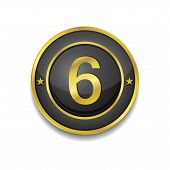 6 Number Circular Vector Golden Black Web Icon Button