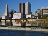 Columbus Ohio Waterfall Skyline
