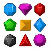 picture of gem  - Set of Multicolored Gems for Match3 Games - JPG