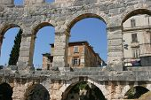 The Ancient Roman Amphitheater in Pula Croatia.
