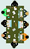 Teamwork For Office Desk. Business Strategy, New  Idea Of Company, Financial Strategy, Development O