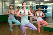 foto of day care center  - Smiling yoga class in tree pose in fitness studio at the leisure center - JPG