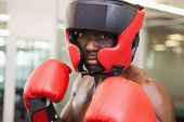 Close up of a male boxer in defensive stance in health club