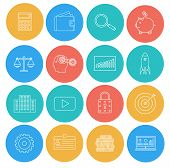 Flat Lines Icons Of Business And Finance. Electronic Commerce, Seo, Marketing, Office. Elements For