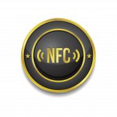 NFC Circular Vector Golden Black Web Icon Button