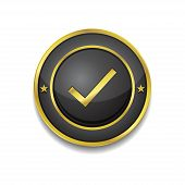Tick Mark Circular Vector Golden Black Web Icon Button