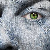 Denim Fiber Superimposed On A Man's Face