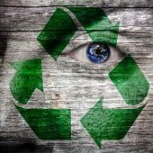 Recycling Symbol Painted On Face With Earth For Eye