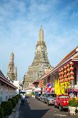 BANGKOK, THAILAND - APRIL 17:  Street near famous Wat Arun on April 17, 2014  in Bangkok, Thailand.