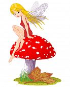 stock photo of agar  - Sweet fairy sitting on Fly agaric - JPG