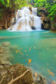 Deep Forest Waterfall In Kanchanaburi (huay Mae Kamin), Thailand.