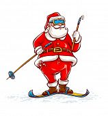 Santa claus on skis. Eps10 vector illustration. Isolated on white background