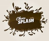 Chocolate splash blot with drops and blot. Eps10 vector illustration