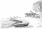 Beach bar sketch, boat on shore vector sketch