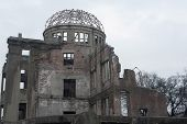 pic of bomb  - View of the stark ruins of the Hiroshima Atom Bomb Dome one of the few buildings left standing after the bombing of Hiroshima now part of the Peace Memorial known as the Genbaku Dome or A - JPG