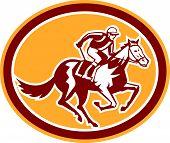 Jockey Horse Racing Oval Retro