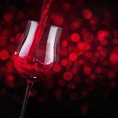 Red wine with bokeh effect