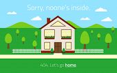 404 web template with empty house