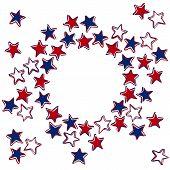 three color stars wreath patriotic background on white