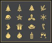 Christmas and New Year Icon Set. Merry Christmas and Happy New Year vector icons