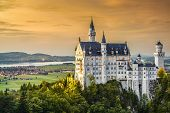 picture of bavarian alps  - Neuschwanstein Castle in the Bavarian Alps of Germany - JPG