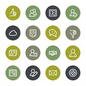 Community. Social media web icons set, color buttons