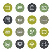 Home appliances web icons set, color buttons